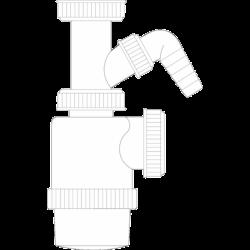 Sifón botella con toma lavavajillas