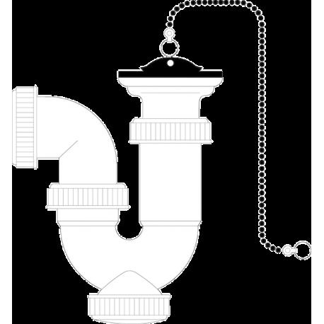 Sifón curvo extensible rígido con válvula y cadenilla