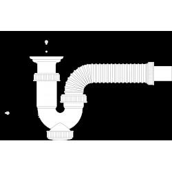 Sifón curvo extensible con válvula y cadenilla