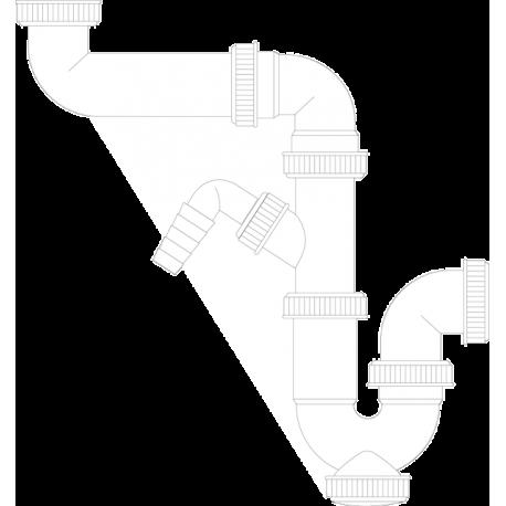 Sifón sencillo para adaptar a la pared con toma lavavajillas