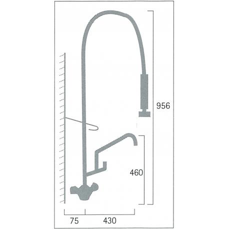 Pre-Rinse Kitchen Faucet Single Monolith with spout