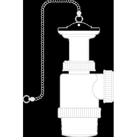 Sifón botella extensible con válvulas y cadenilla