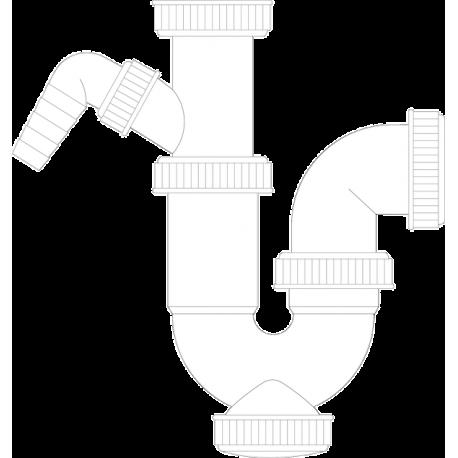 Sifón curvo extensible con toma de lavavajillas